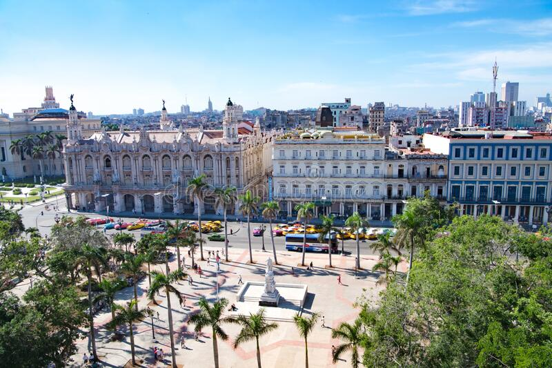 Grand Theatre and Central Park in Havana, Cuba royalty free stock images