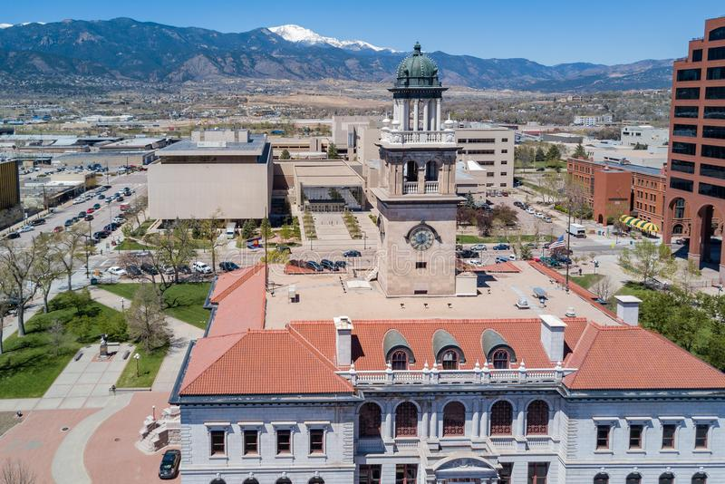 Aerial view of the Colorado Springs Pioneers Museum. With mountain background royalty free stock photo