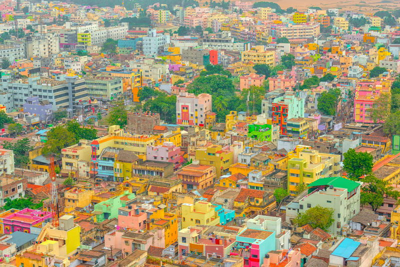 Aerial view of colorful homes Indian city Trichy. Tamil Nadu royalty free stock images