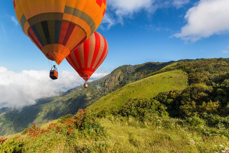 Aerial view from colorful hot air balloons flying over Inthanon Mountain at Kew Mae Pan Nature Trail, Chiang Mai Province. Thailand royalty free stock image