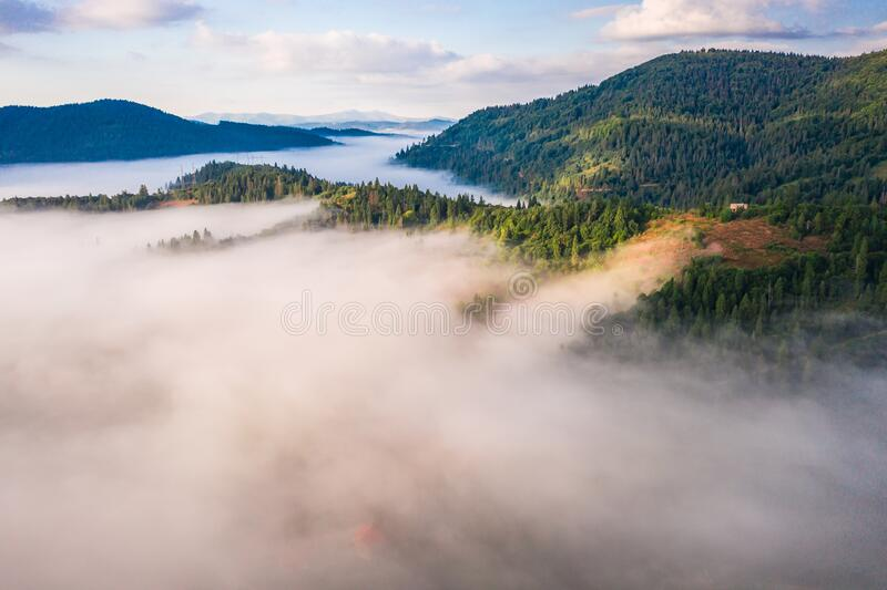 Aerial view of colorful mixed forest shrouded in morning fog on a beautiful autumn day royalty free stock photography