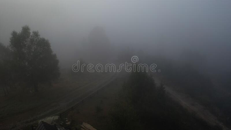 Aerial view of colorful mixed forest shrouded in morning fog on a beautiful autumn day royalty free stock image