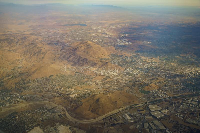 Aerial view of Colton, view from window seat in an airplane. At California, U.S.A royalty free stock photos