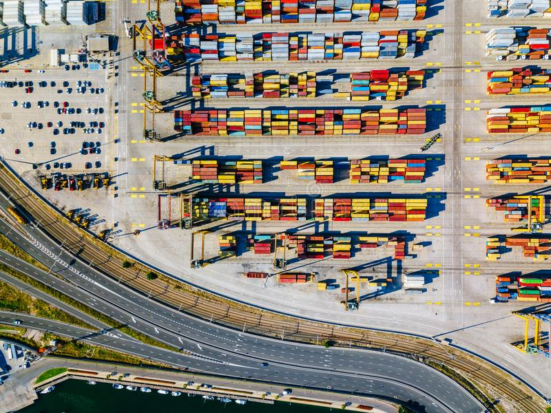 Aerial view of the commercial port of Valencia. Container terminal and ship during loading. stock photos