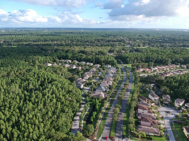 Aerial view of a community in tampa royalty free stock photo