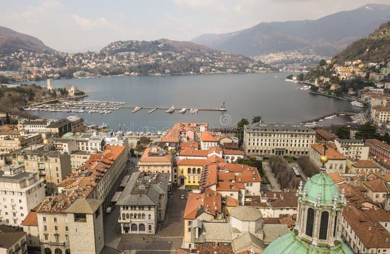 Aerial view of Como city. And Como lake, Italy royalty free stock photo