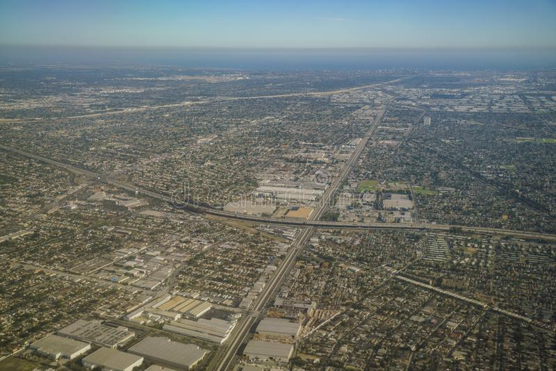 Aerial view of Compton, view from window seat in an airplane. California, U.S.A stock image