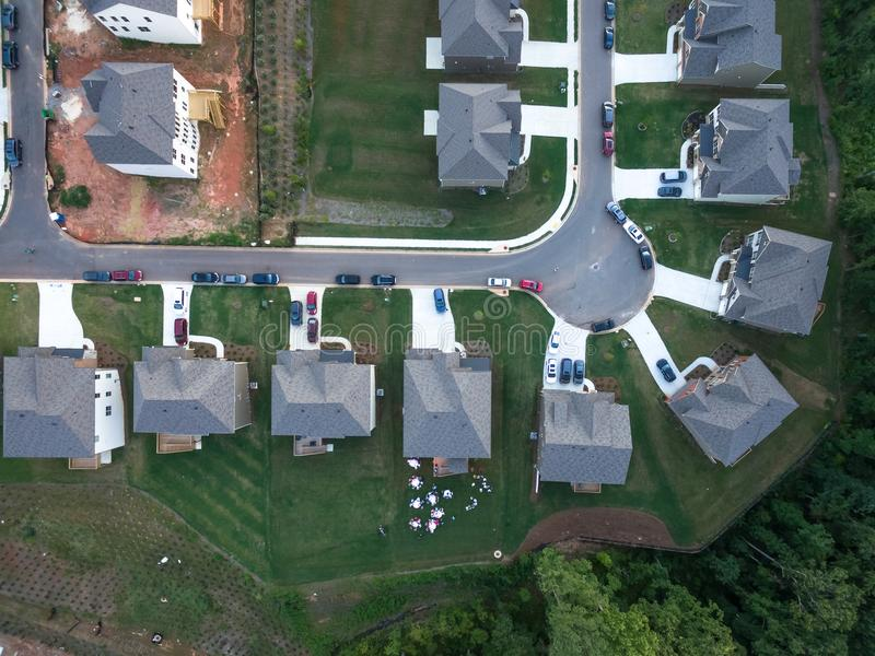 Aerial view of condo Cul de Sac in Southern United States. Shot in 2018 stock photography
