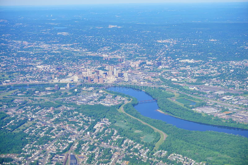 Aerial view of Connecticut river and hartford downtown royalty free stock image