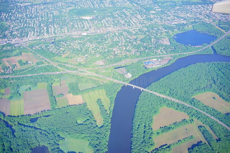 Aerial view of Connecticut river and hartford royalty free stock photos