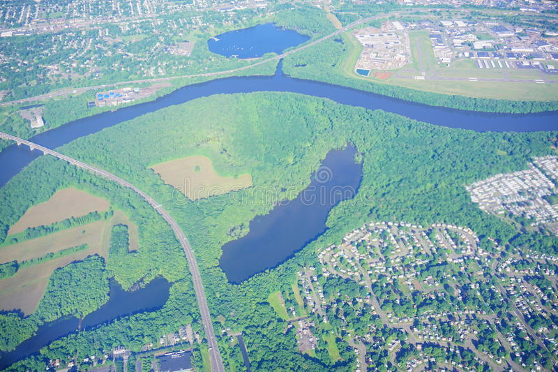 Aerial view of Connecticut river and hartford royalty free stock photography