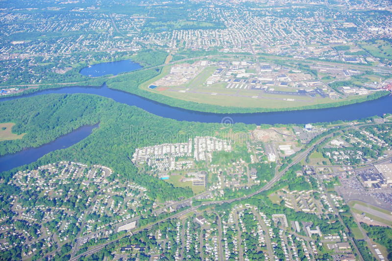 Aerial view of Connecticut river royalty free stock photo
