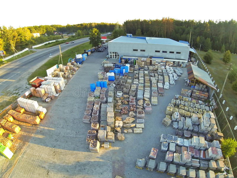 Aerial view of construction materials stock royalty free stock photos