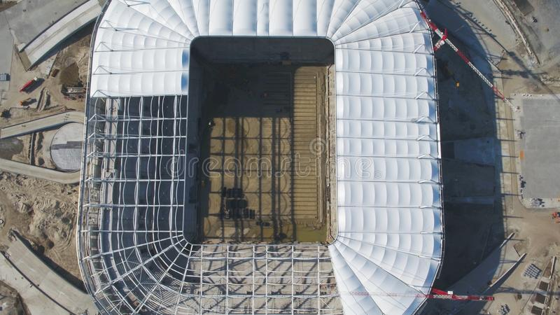 Aerial view on construction and reconstruction of football stadium. Reconstruction of stadium to host matches of world royalty free stock photos