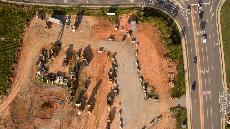 Aerial view of construction site in Atlanta, Georgia royalty free stock photo