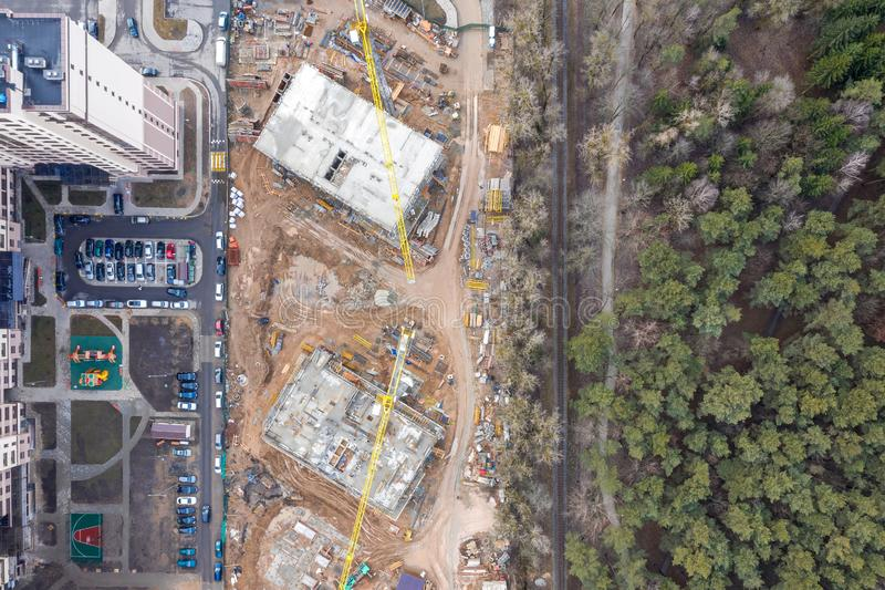 Aerial view of construction site. development of new residential area royalty free stock photo