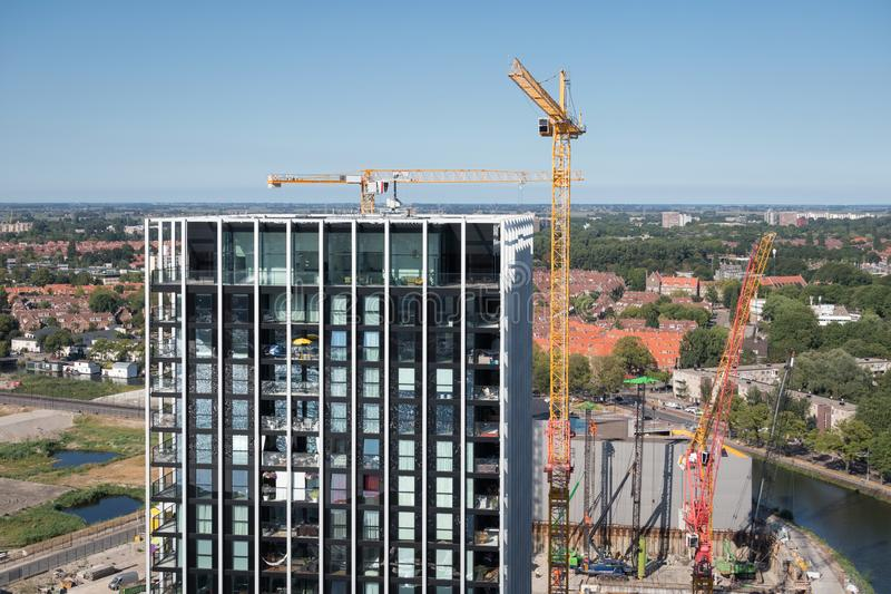 Aerial view construction site new apartment building Amsterdam, the Netherlands royalty free stock photo