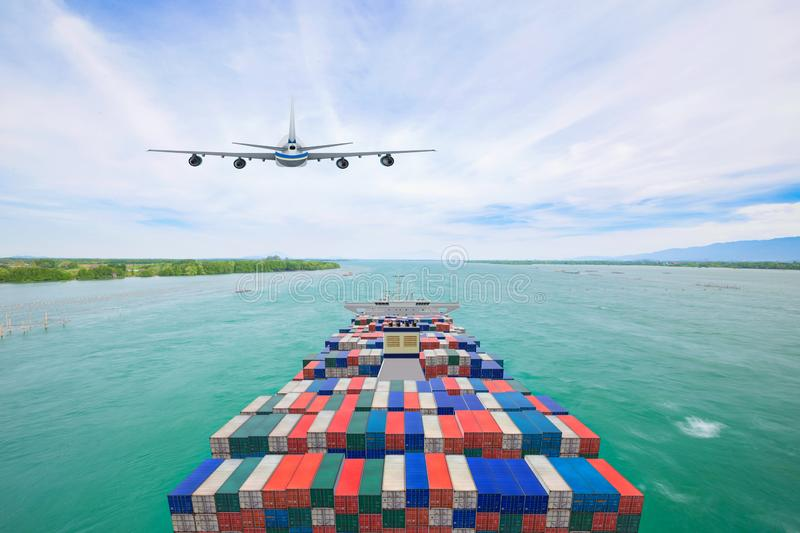 Aerial view container cargo ship and commercial plane for transport and logistic import export concept.  royalty free stock photography