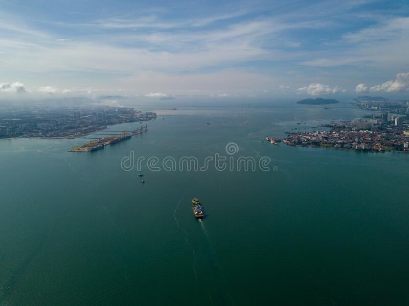 Container ship arrive North Butterworth Container Terminal NBCT. Aerial view container ship arrive North Butterworth Container Terminal NBCT royalty free stock photo