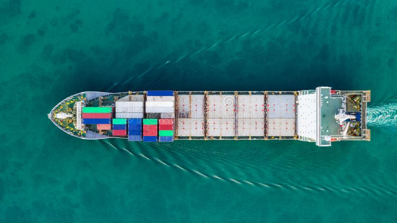 Aerial view container ship for delivery containers shipment. Suitable use for transport or import export to global logistics. Concept royalty free stock photos