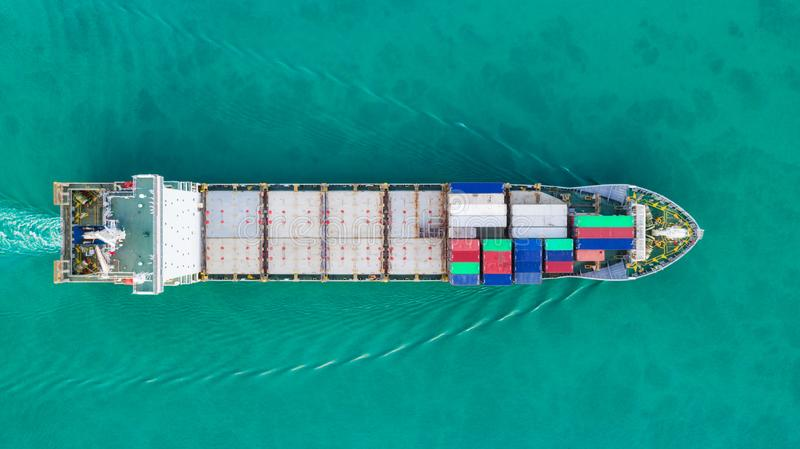 Aerial view container ship for delivery containers shipment. Suitable use for transport or import export to global logistics. Concept royalty free stock images