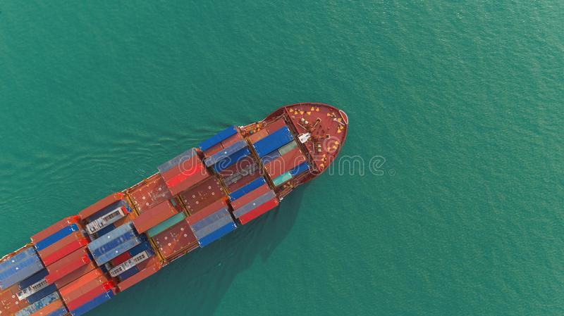 Aerial view container ship on the sea for delivery containers shipment. Suitable use for transport or import export to. International or global logistics stock photos