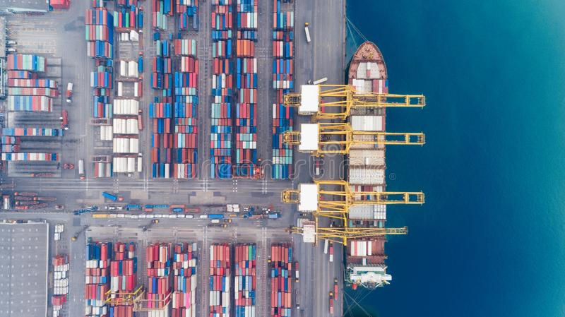 Aerial view container ship from sea port warehouse waiting for delivery containers shipment. Suitable use for transport or import. Export to global logistics stock photo