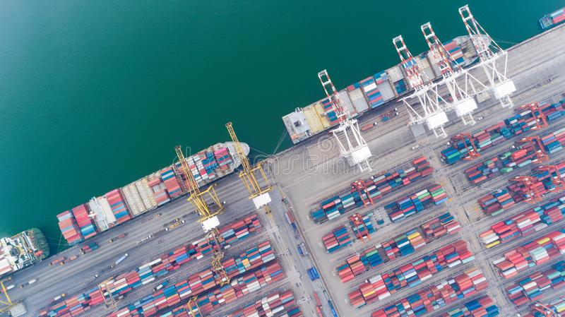 Aerial view container ship from sea port warehouse waiting for delivery containers shipment. Suitable use for transport or import. Export to global logistics stock photography