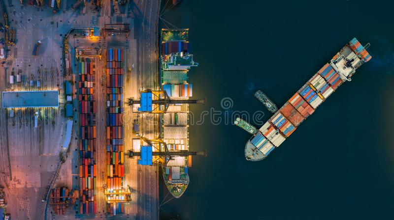 Aerial view container ship from sea port working for delivery containers shipment. Suitable use for transport or import export to. Global logistics concept stock photo