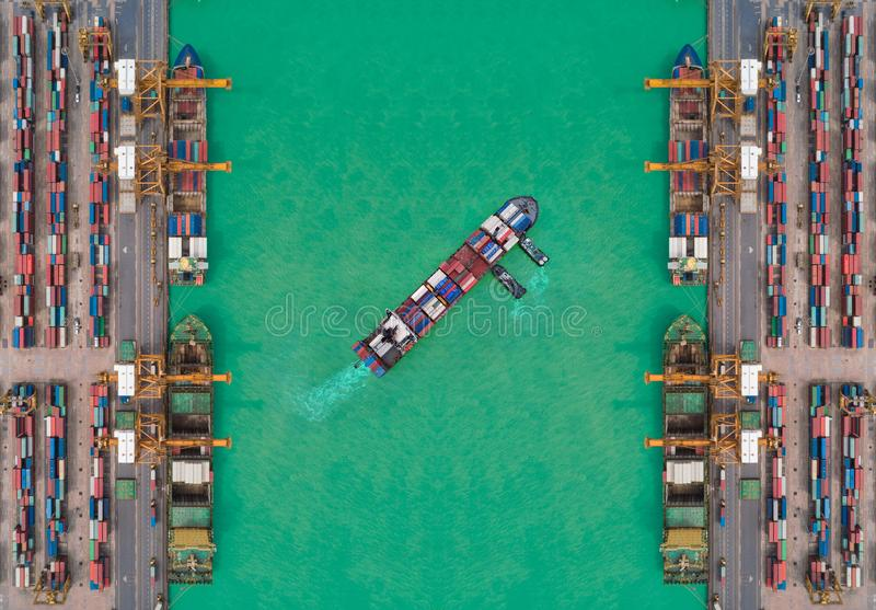 Aerial view container ship from sea port working for delivery containers shipment. Suitable use for transport or import export to. Global logistics concept royalty free stock photo