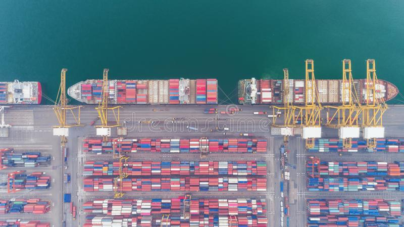 Aerial view container ship and container warehouse from sea port for delivery containers shipment. Suitable use for transport or. Import export to global royalty free stock photography