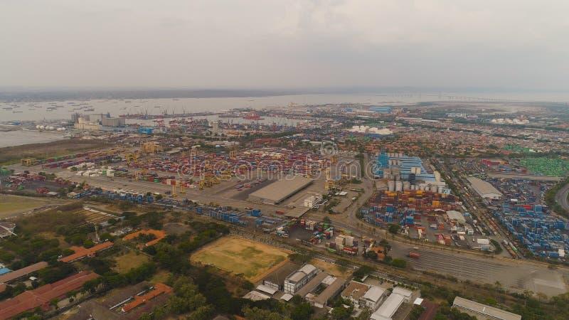 Cargo and passenger seaport in surabaya, java, indonesia stock photography