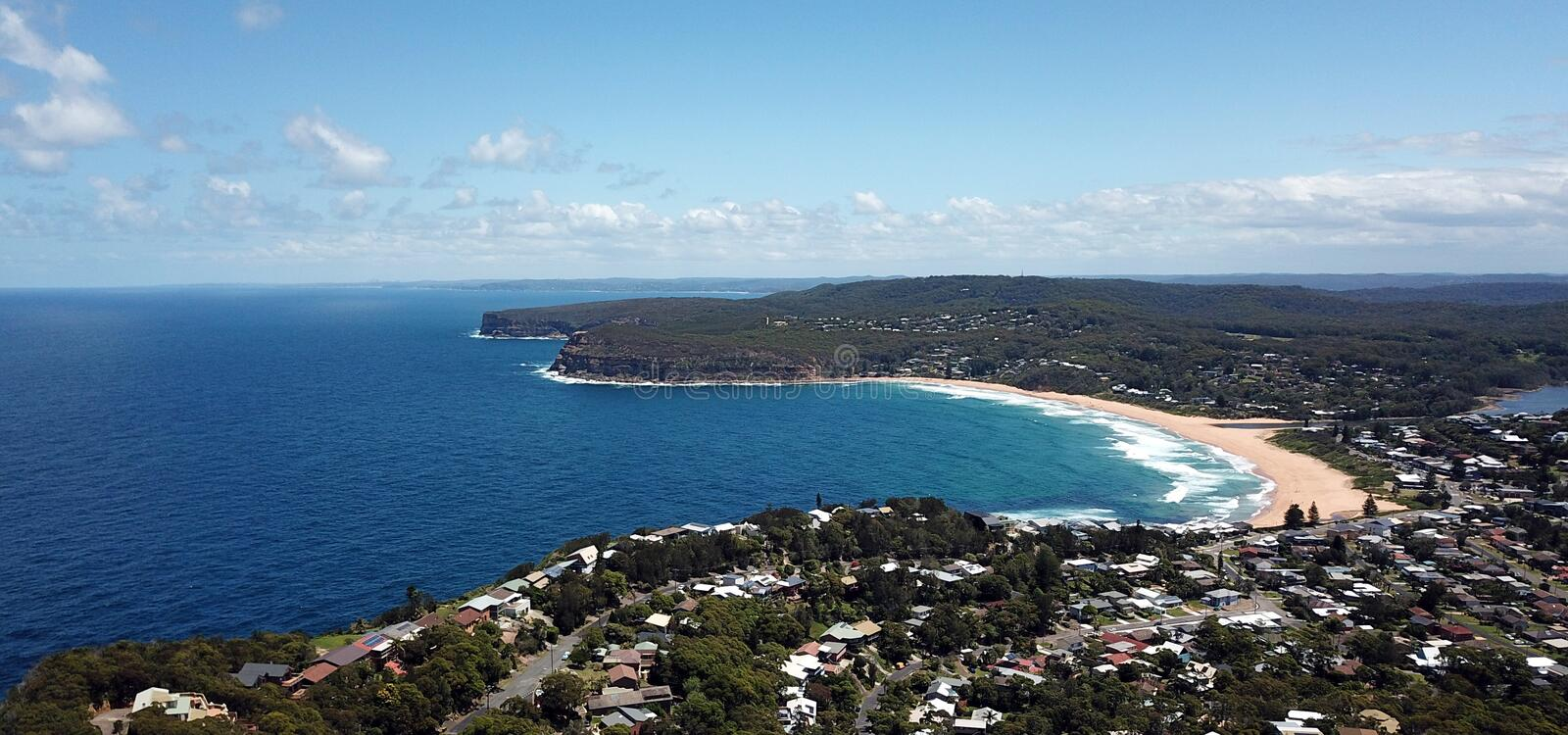 Aerial view of Copacabana Beach and Tasman sea. View from Captain Cook lookout Central Coast, NSW, Australia stock images