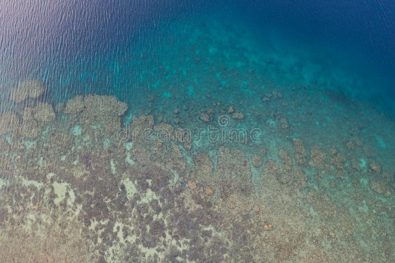 Aerial View of Coral Reef in Indonesia stock photography