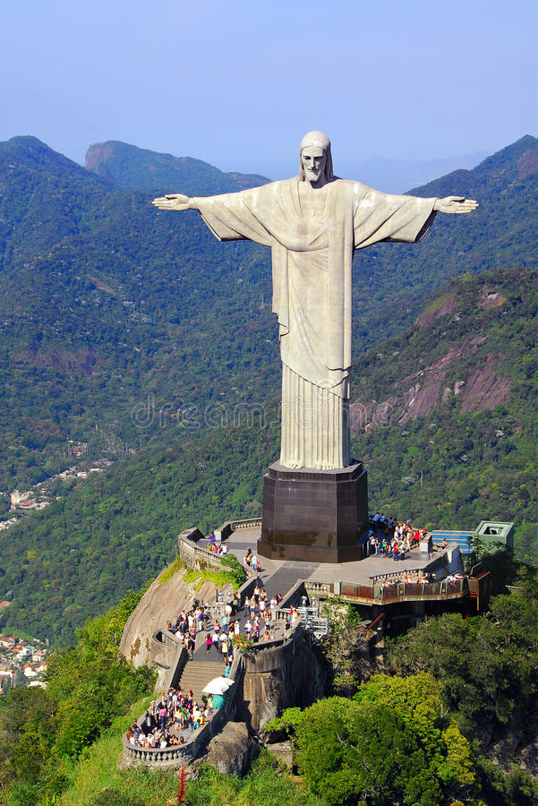 Aerial View Of Corcovado Mountain And Christ The Redemeer In Rio Editorial Stock Photo