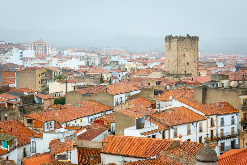 Aerial view of Coria, in Caceres, Extremadura, Spain.  stock photography