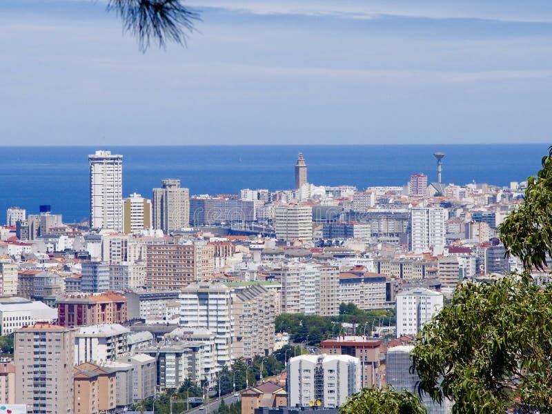 Aerial view of Coruna city i royalty free stock photography
