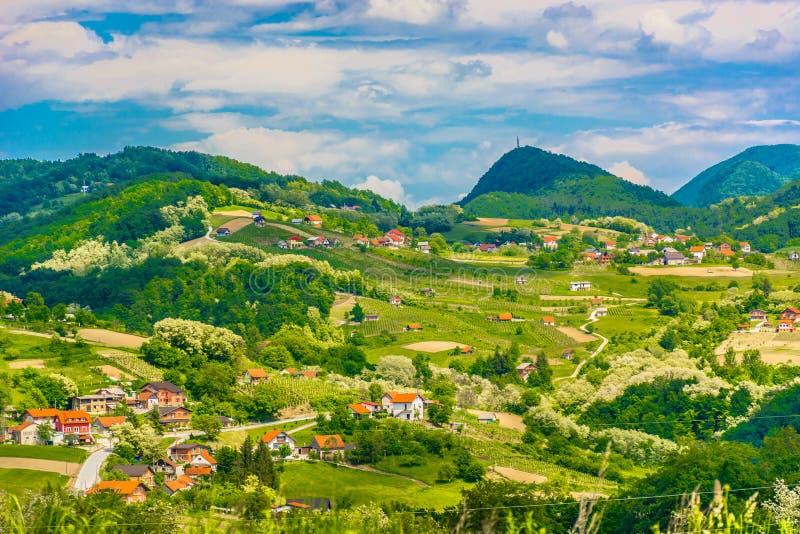 Hills in Zagorje region, Croatia. Aerial view at countryisde in Zagorje region, popular travel destination in Croatia, Europe stock photo
