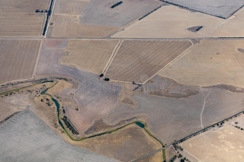 Aerial view of countryside and farmlands, Victoria, Australia. During drought royalty free stock photo