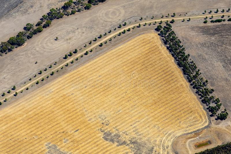 Aerial view of countryside and farmlands, Victoria, Australia. With freshly plowed fields royalty free stock photography