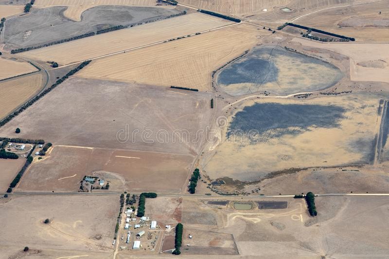 Aerial view of countryside and farmlands, Victoria, Australia. During drought royalty free stock photography