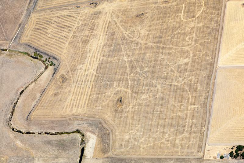 Aerial view of countryside and farmlands, Victoria, Australia. During drought royalty free stock image