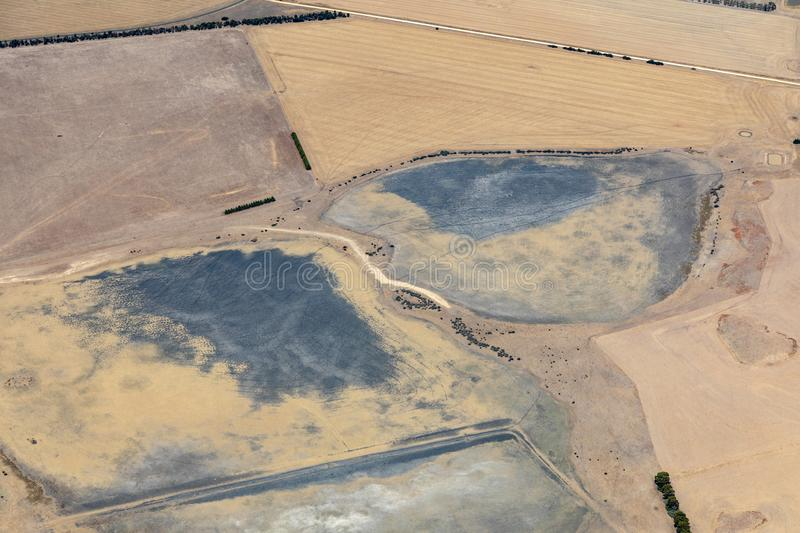 Aerial view of countryside and farmlands, Victoria, Australia. During drought royalty free stock photos