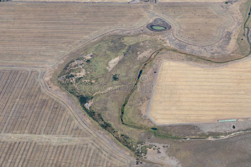 Aerial view of countryside and farmlands, Victoria, Australia. With freshly plowed fields stock photo