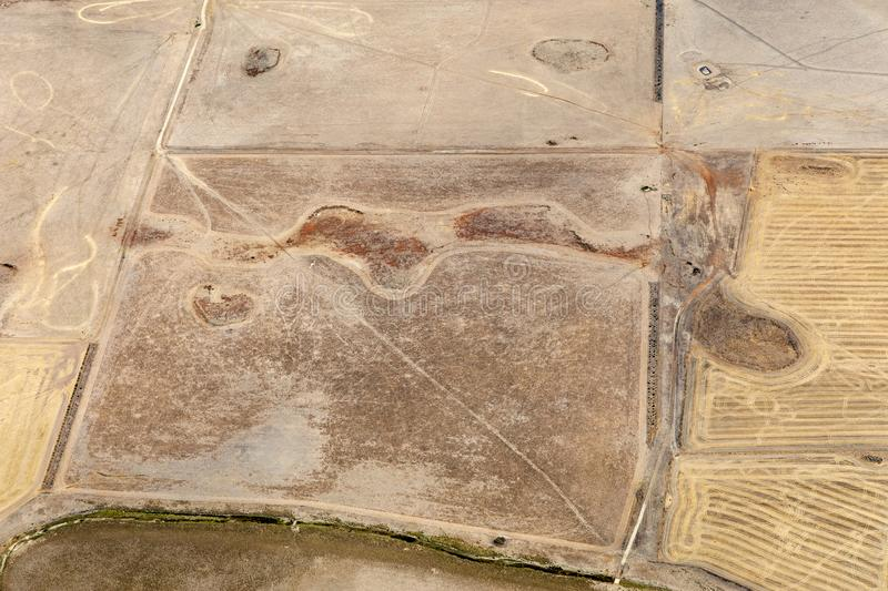 Aerial view of countryside and farmlands, Victoria, Australia. With freshly plowed fields royalty free stock photos