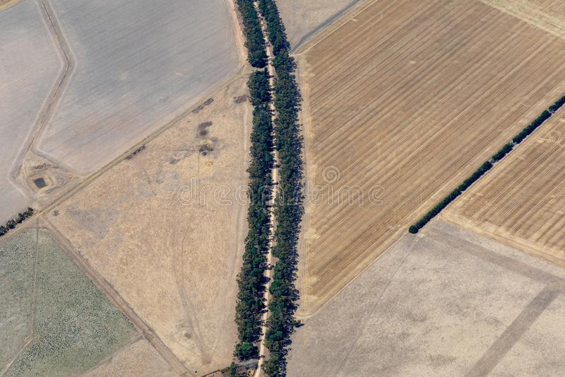 Aerial view of countryside and farmlands, Victoria, Australia. With trees royalty free stock images