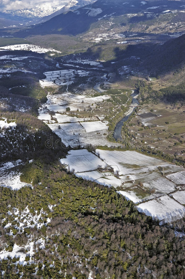 Aerial view of the countryside in the mountains stock photo