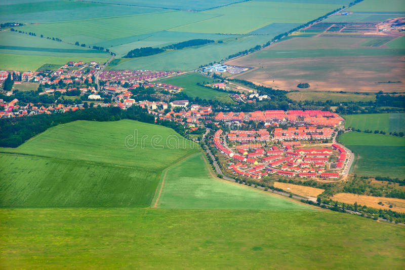 Aerial view of countryside with village