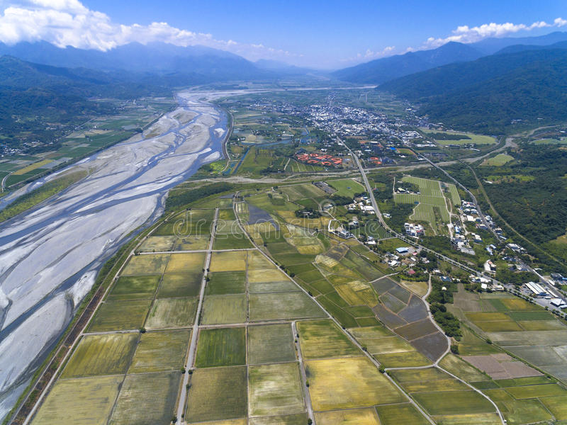 Aerial view of the countryside with village royalty free stock photo