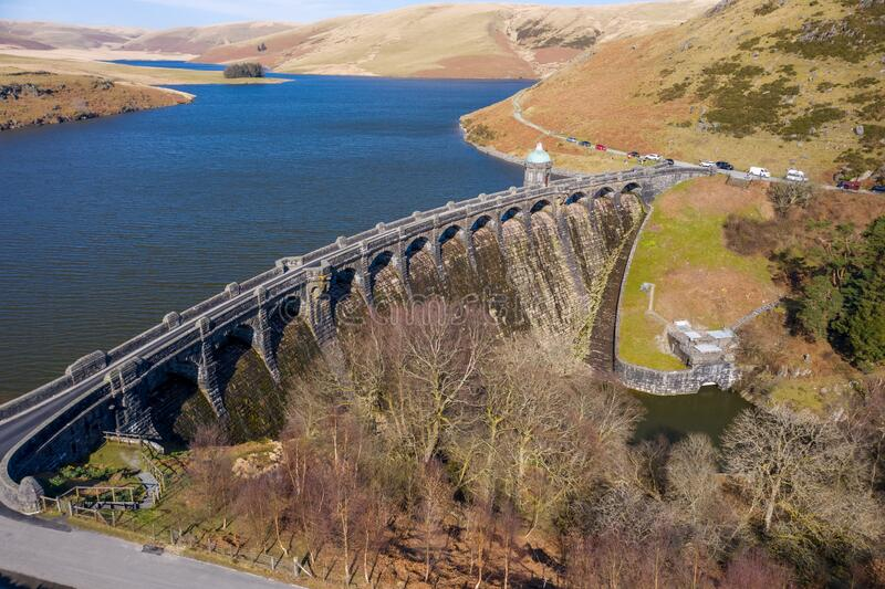 Aerial view of Craig goch elan valley on a bright sunny day in march 2020 winter. Aerial view of Craig goch elan valley on a bright sunny day in march 2020 stock images